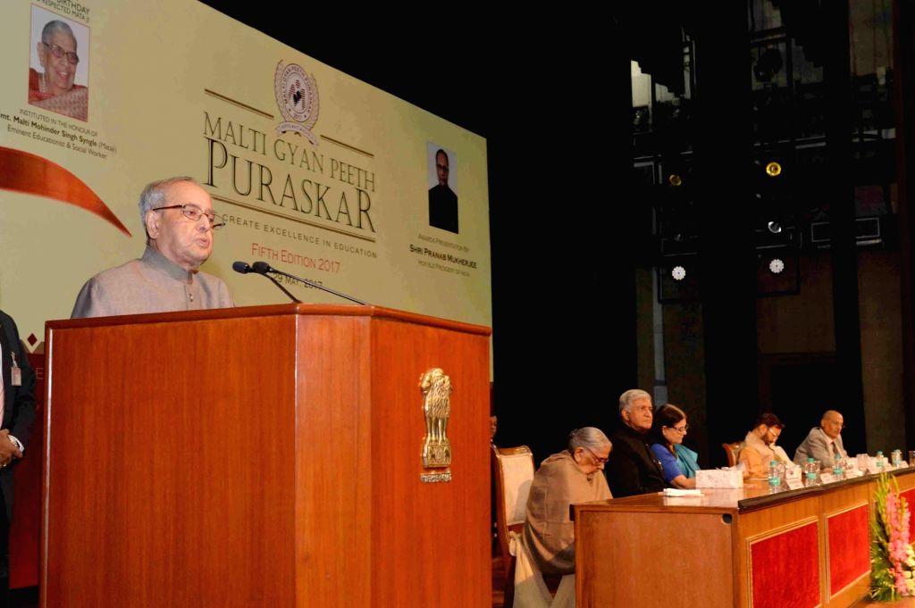 President Pranab Mukherjee addresses during Malti Gyan Peeth Puraskar presentation ceremony at Rashtrapati Bhavan on May 29, 2017. - Pranab Mukherjee