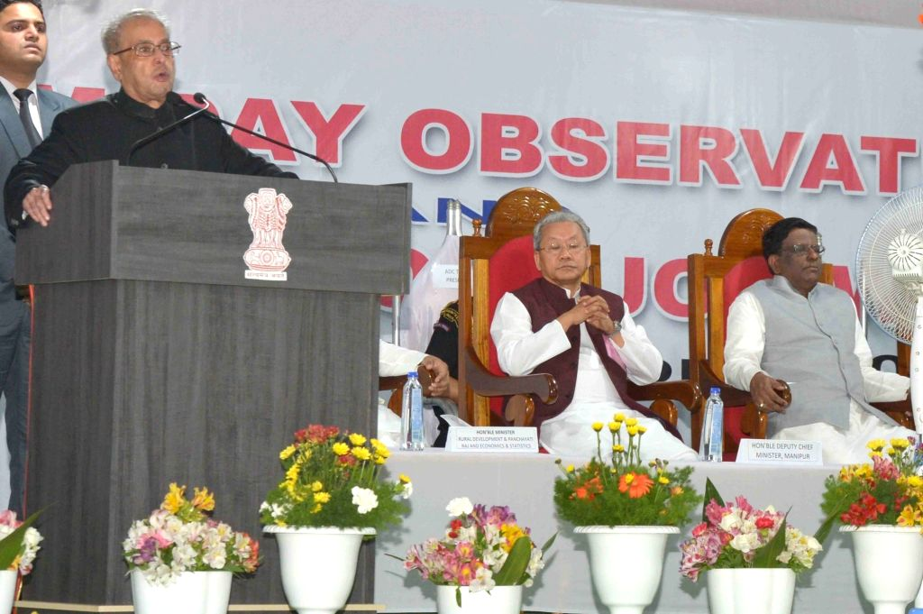 President Pranab Mukherjee addresses during the inauguration of Khongjom war monument at Khongjom War Monument Complex, Kheba Ching in Manipur on April 23, 2016. - Pranab Mukherjee