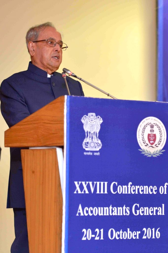 President Pranab Mukherjee addresses during the inauguration of the 28th Accountants General conference in New Delhi on Oct 20, 2016. - Pranab Mukherjee