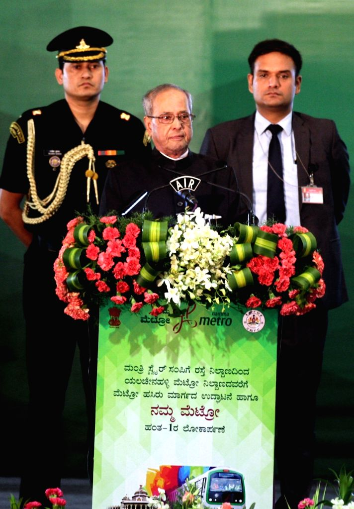 President Pranab Mukherjee addresses during the inauguration of the underground section of the Green Line of Bengaluru's Namma Metro train service from Nagasandra in the northern part of ... - Pranab Mukherjee
