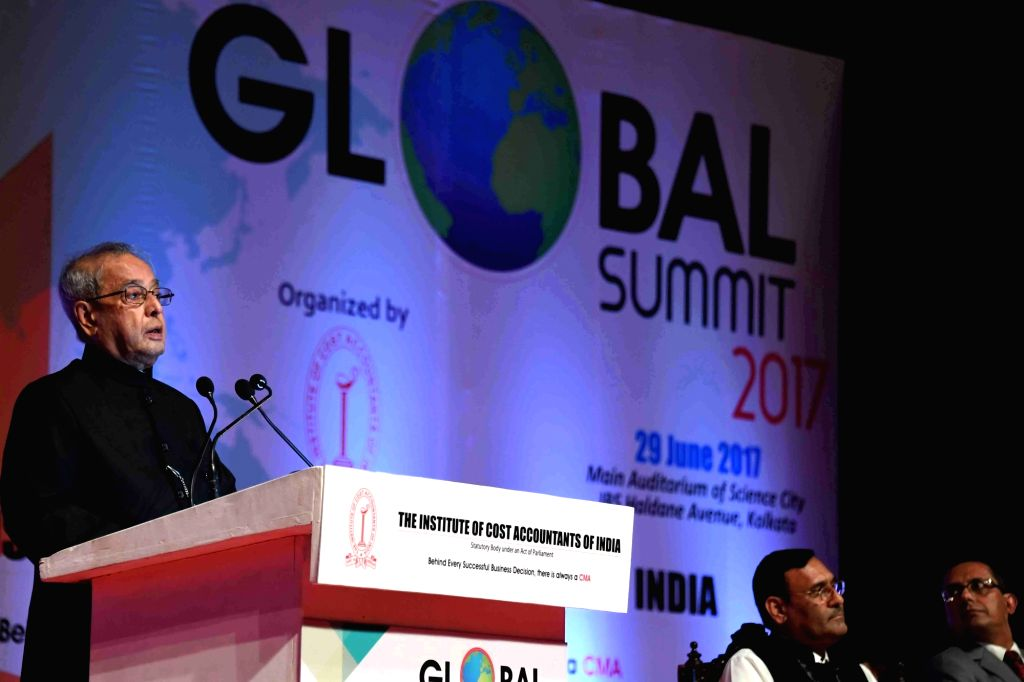 President Pranab Mukherjee addresses during the inaugural session of global summit on 'Academics and Economic Reforms – Role of Cost and Management Accountants' in Kolkata on June 29, 2017. - Pranab Mukherjee
