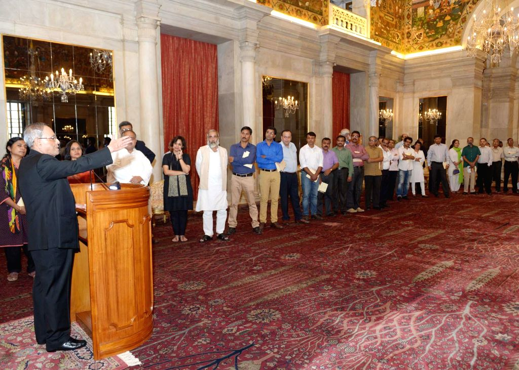 President Pranab Mukherjee addresses media persons at Rashtrapati Bhawan in New Delhi on July 30, 2014.