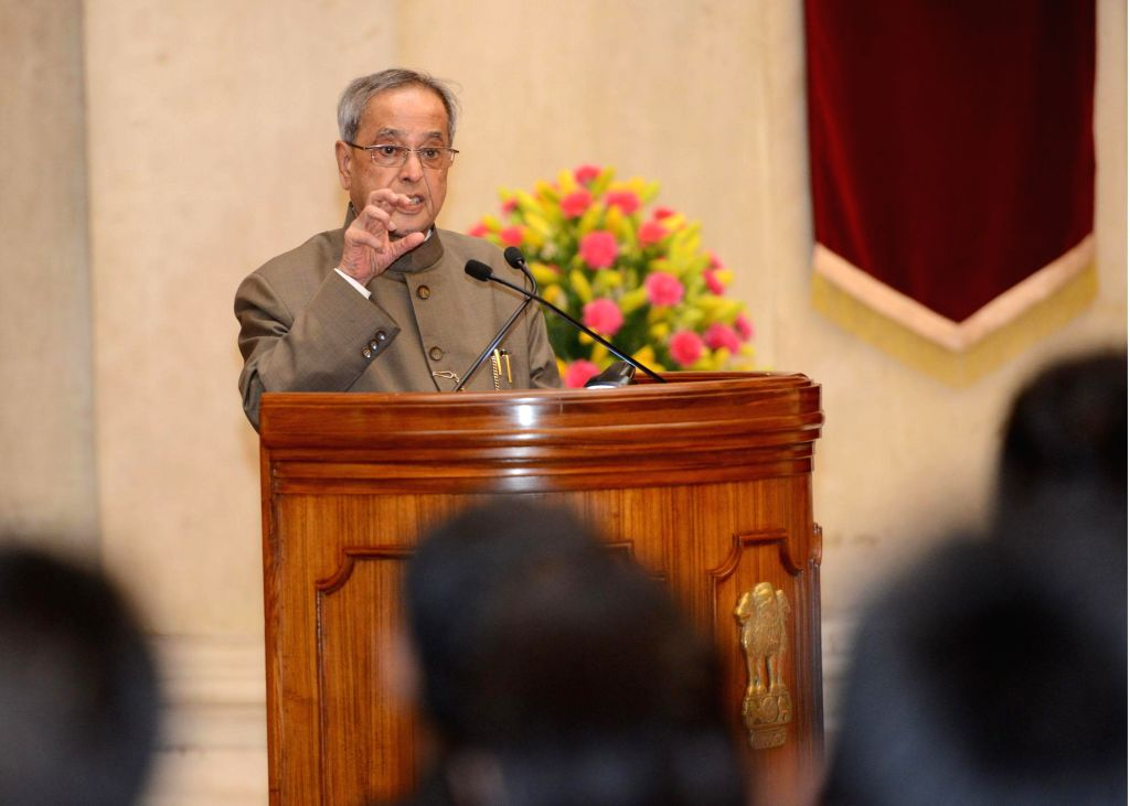 President Pranab Mukherjee addresses Officer Trainees of 67th Batch of Indian Revenue Service from National Academy of Direct Taxes, Nagpur at Rashtrapati Bhavan in New Delhi on July 17, 2014.