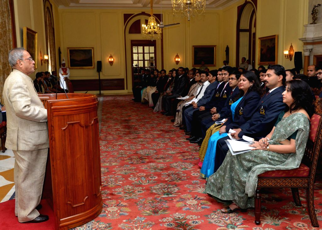 President Pranab Mukherjee addresses probationers of Indian Postal Service from Rafi Ahmed Kidwai National Postal Academy and probationers of Indian P&T Accounts & Finance Service  from ...