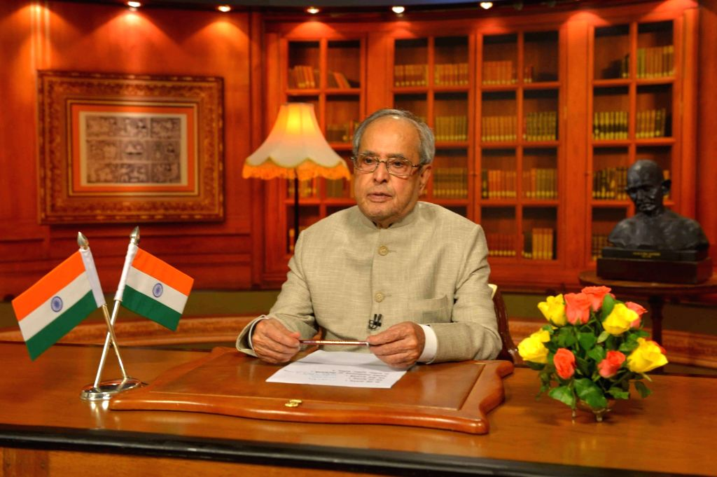President Pranab Mukherjee addresses the nation on the eve of Independence Day in New Delhi, on Aug 14, 2016. - Pranab Mukherjee