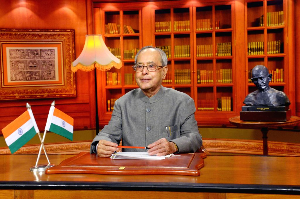 President Pranab Mukherjee addresses to the nation on the eve of Independence Day in New Delhi, on Aug 14, 2015. - Pranab Mukherjee