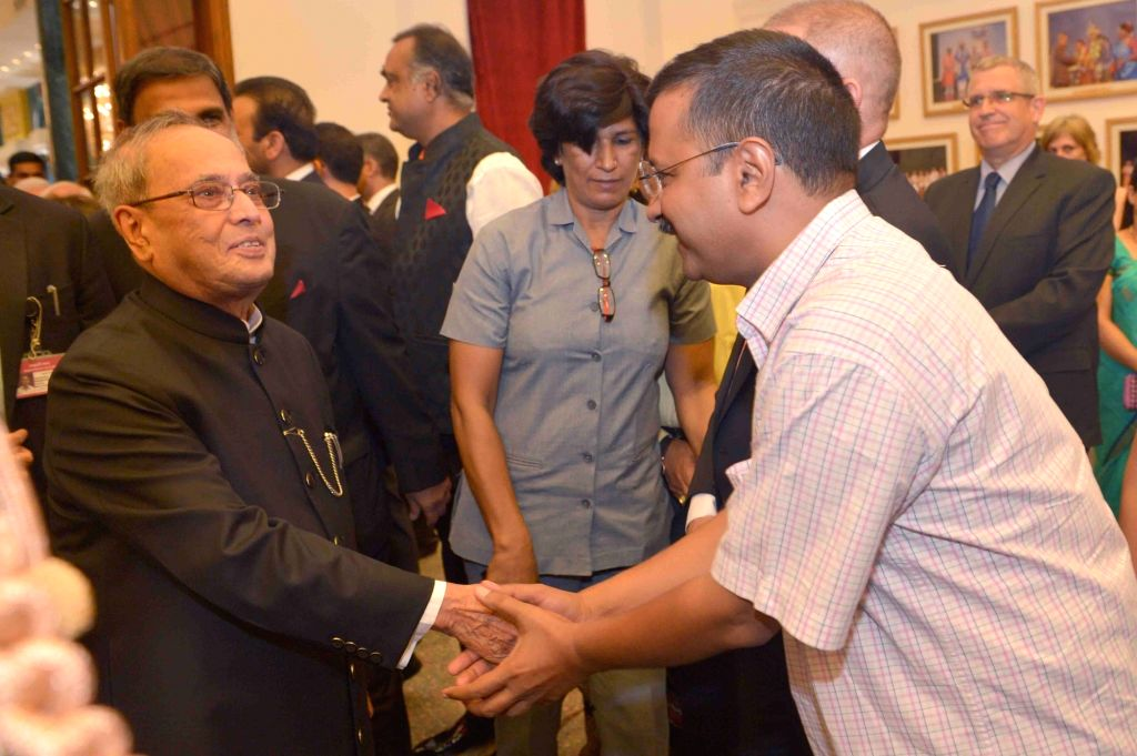 President Pranab Mukherjee and Delhi Chief Minister Arvind Kejriwal during the 'At Home' function organised on the occasion of 70th Independence Day at Rashtrapati Bhavan, in New Delhi on ... - Arvind Kejriwal and Pranab Mukherjee