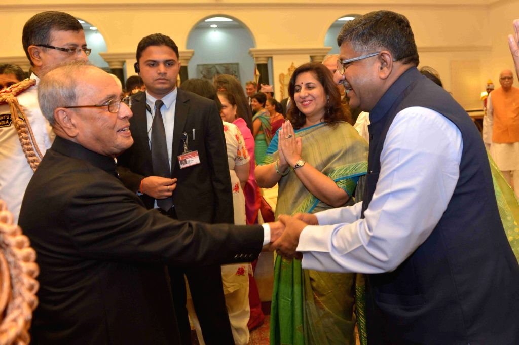 President Pranab Mukherjee and Union Minister Ravi Shankar Prasad during the 'At Home' function organised on the occasion of 70th Independence Day at Rashtrapati Bhavan, in New Delhi on ... - Ravi Shankar Prasad and Pranab Mukherjee