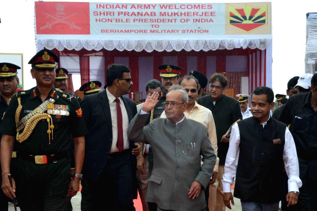 President Pranab Mukherjee at Berhampore Military Station, at Nabagram, in Murshidabad of West Bengal on Oct  8, 2016. - Pranab Mukherjee