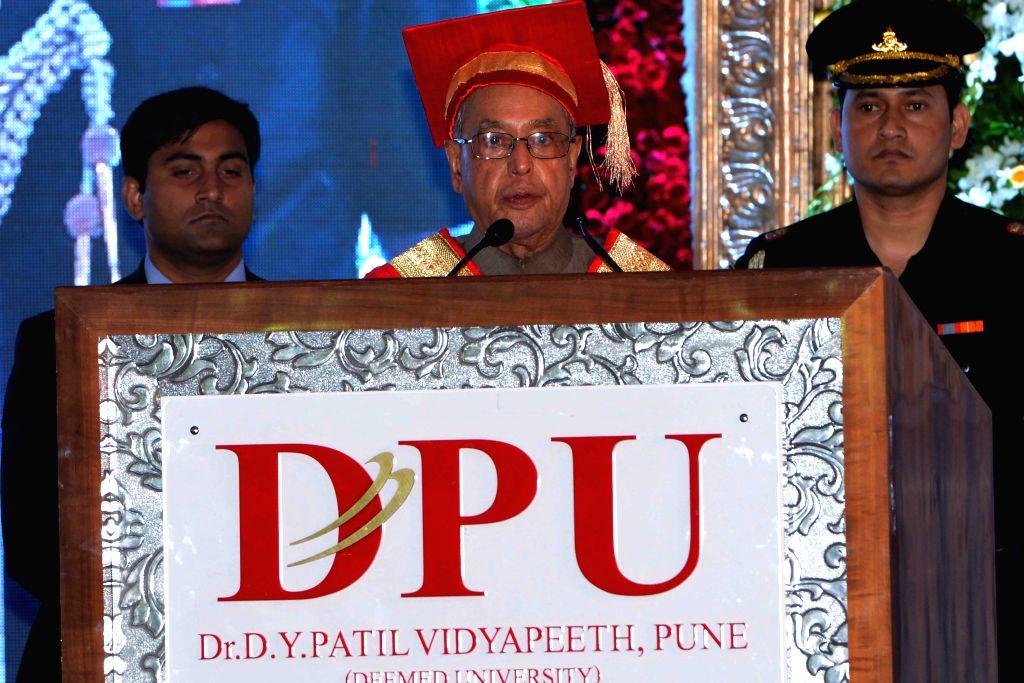 President Pranab Mukherjee at the Sixth Convocation of Dr D.Y. Patil Vidyapeeth in Pune on June 26, 2015. - Pranab Mukherjee
