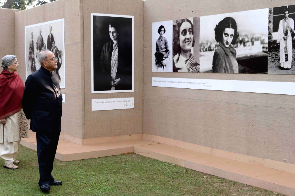President Pranab Mukherjee, attending a function being organised on the occasion of 99th Birth Anniversary of former Prime Minister Indira Gandhi at Akbar Road in New Delhi on Nov. 19, ... - Indira Gandhi and Pranab Mukherjee