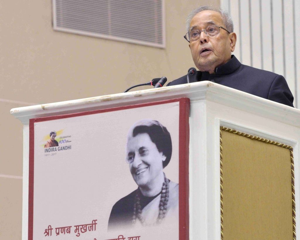 President Pranab Mukherjee delivering the Indira Gandhi Centenary Lecture being organised on the occasion of the birth anniversary of former Prime Minister Indira Gandhi at Vigyan Bhavan ... - Indira Gandhi and Pranab Mukherjee