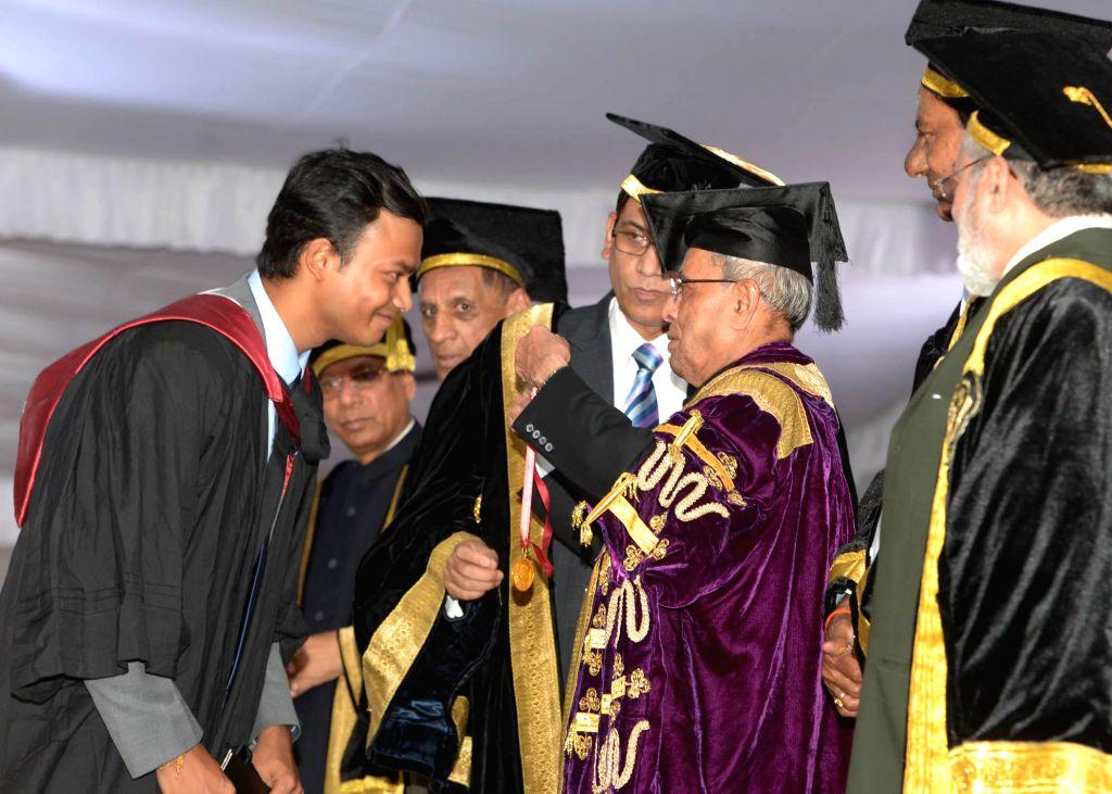 President Pranab Mukherjee during 12th Convocation of NALSAR University of Law at Shameerpet in Telangana on August 2, 2014. - Pranab Mukherjee