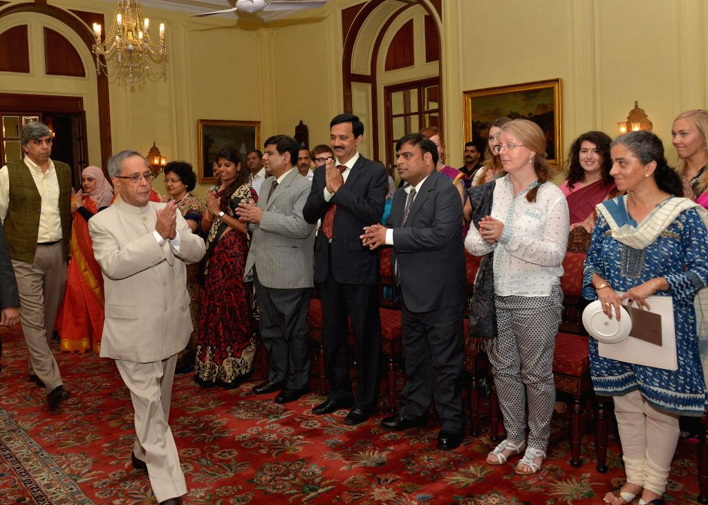 President Pranab Mukherjee during a meeting with the students from Kings College, London and University of Edinburgh, Scotland in New Delhi on Sept 9, 2014. - Pranab Mukherjee