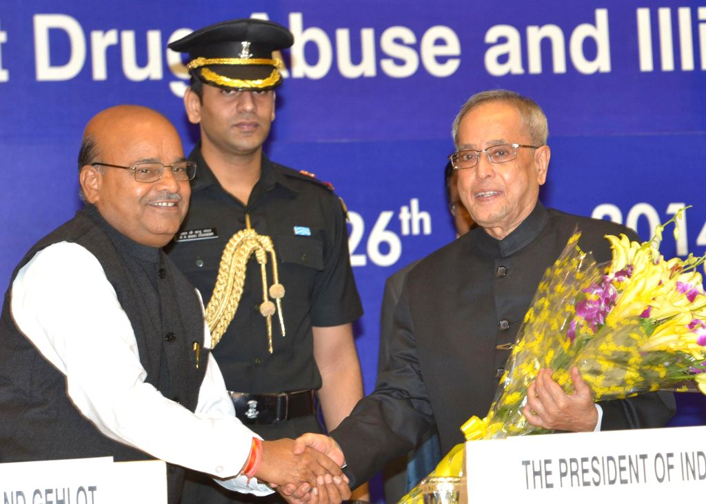 President Pranab Mukherjee during a programme organised on on United Nations' International Day Against Drug Abuse and Illicit Trafficking in New Delhi on June 26, 2014.
