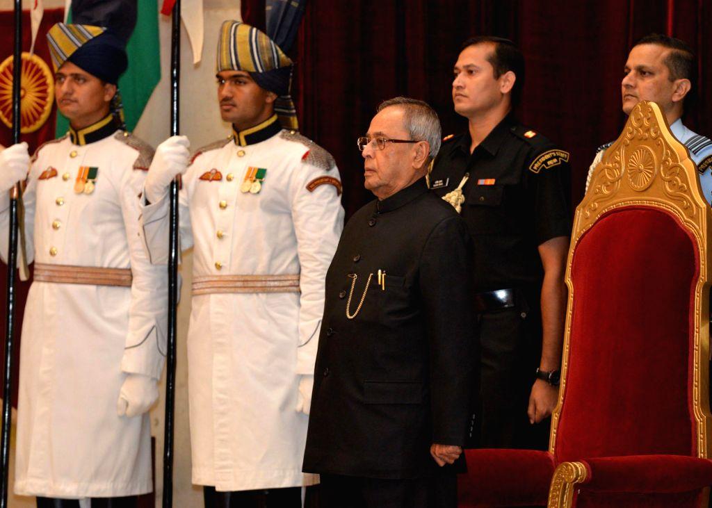 President Pranab Mukherjee during a programme organised to present Dronacharya Award, Arjuna Award, Dhyan Chand Award, National Tenzing Norgay Adventure Award, Maulana Abul Kalam Azad Trophy and ... - Pranab Mukherjee