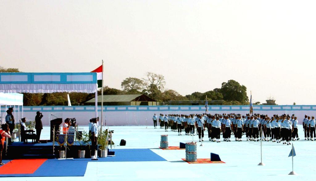 President Pranab Mukherjee during an IAF programme at Hasimara base in West Bengal, on Nov 28, 2015. - Pranab Mukherjee