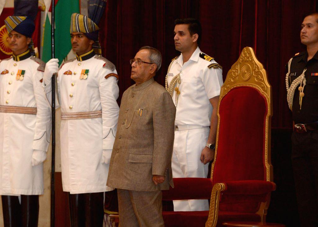 President Pranab Mukherjee during `Hindi Sevi Samman Yojana Awards for the Years 2010 & 2011` organised at Rashtrapati Bhavan in New Delhi on Aug 27, 2014. - Pranab Mukherjee