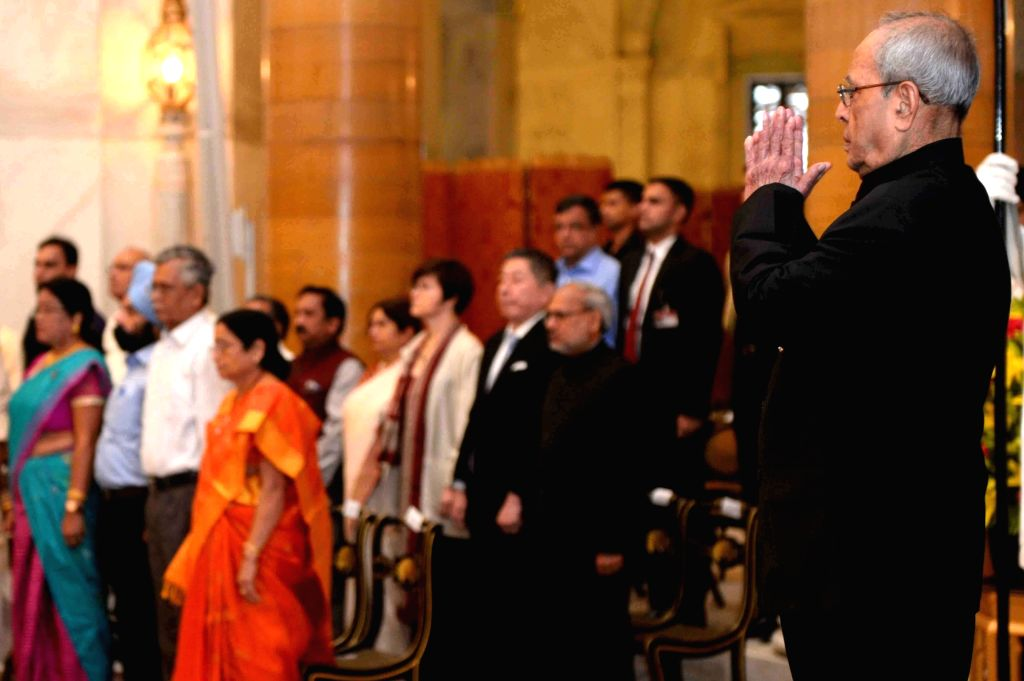 President Pranab Mukherjee during Hindi Sevi Samman Yojna Awards for the Year 2015 at Rashtrapati Bhavan on May 30, 2017. - Pranab Mukherjee