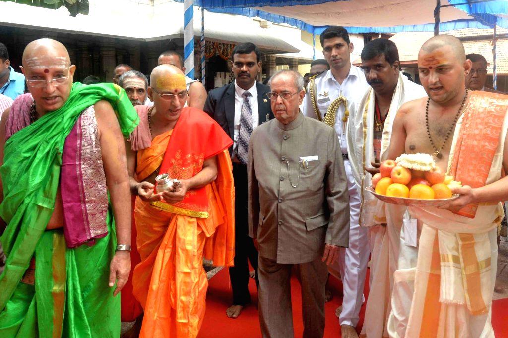 President Pranab Mukherjee during his visit to  Mookambika Temple in Kollur of Karnataka's Udupi district on June 18, 2017. - Pranab Mukherjee