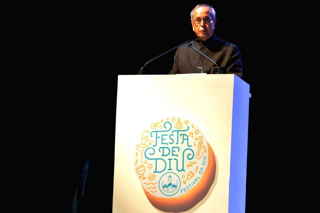 President Pranab Mukherjee during inauguration of Beach Festival-Festa De Diu on Dec 1, 2015. - Pranab Mukherjee