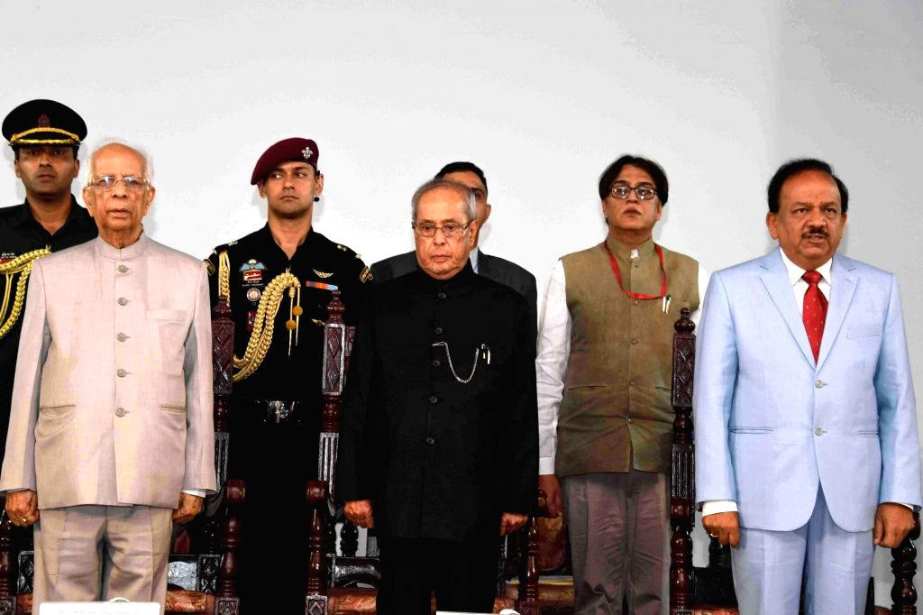 President Pranab Mukherjee during inauguration of Bose Institute's Unified Campus at Bose Institute in Kolkata, on June 29, 2017. Also seen West Bengal Governor Keshari Nath Tripathi and ... - Harsh Vardhan, Pranab Mukherjee and Keshari Nath Tripathi