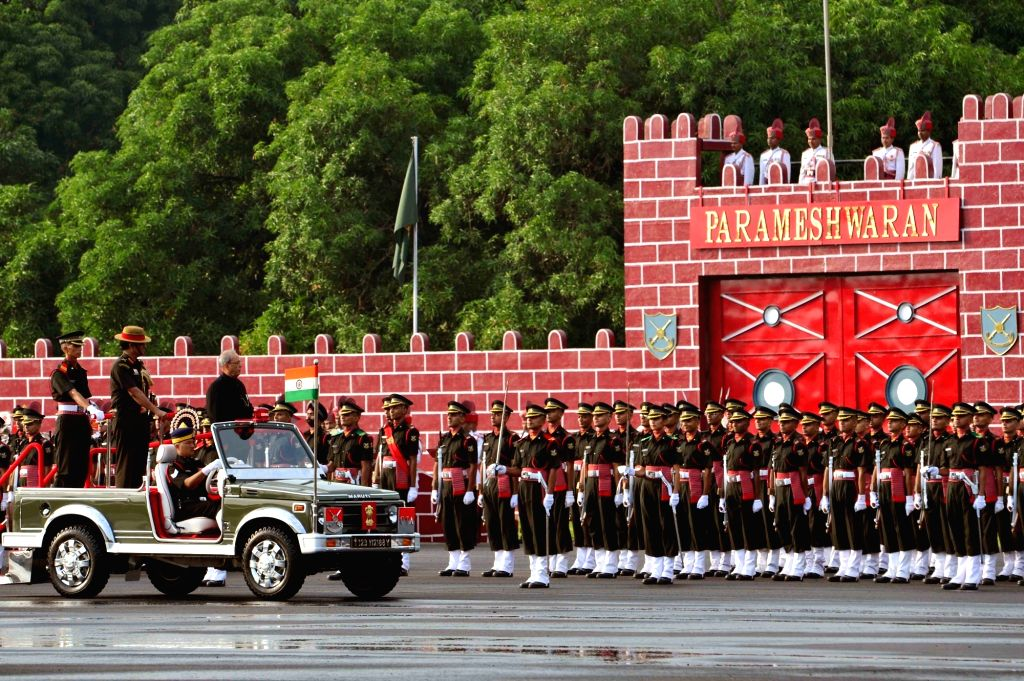 President Pranab Mukherjee during passing out parade of of the Summer Term in Chennai, on Sept 10, 2016. - Pranab Mukherjee