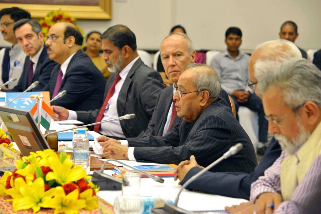 President Pranab Mukherjee during Rapporteurs' summarization of the global roundtable on inclusive innovations at Rashtrapati Bhawan on March 5, 2017. - Pranab Mukherjee