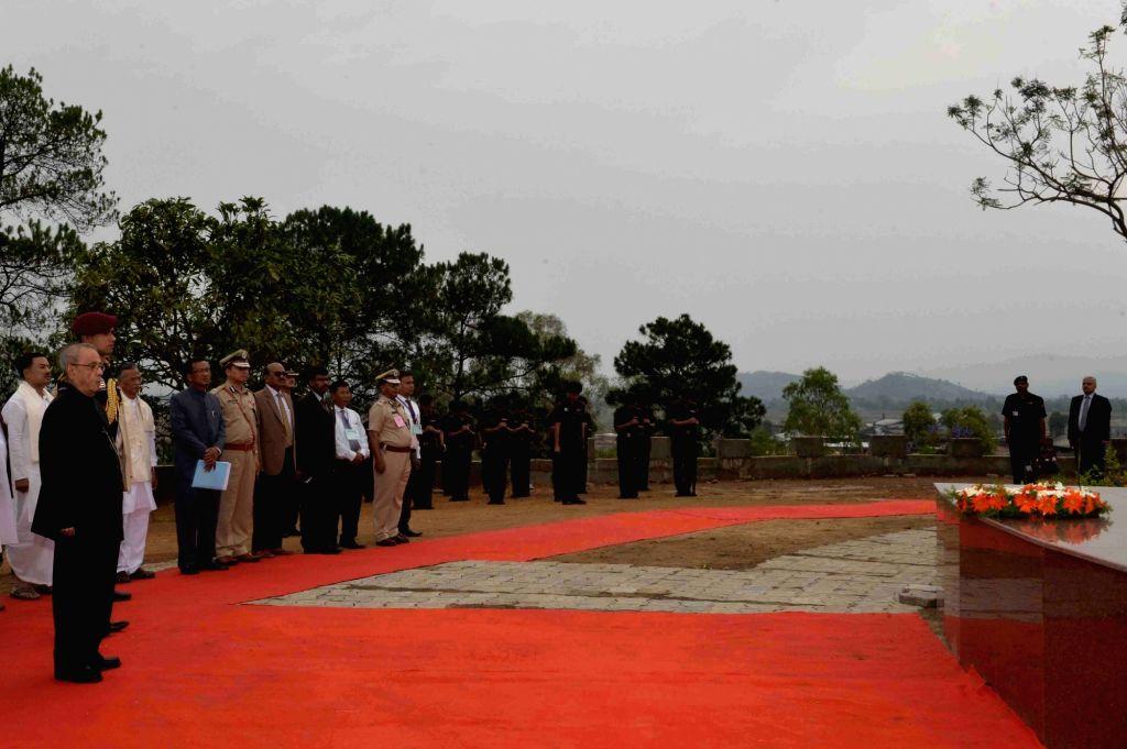 President Pranab Mukherjee during the inauguration of Khongjom war monument at Khongjom War Monument Complex, Kheba Ching in Manipur on April 23, 2016. - Pranab Mukherjee