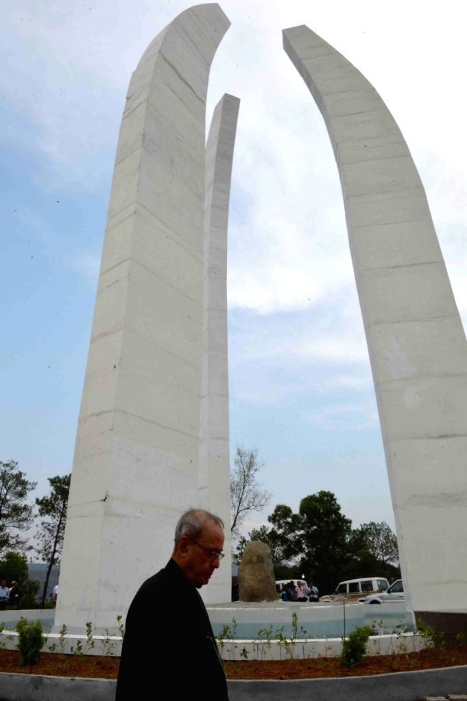 President Pranab Mukherjee during the inauguration of Khongjom war monument at Khongjom War Monument Complex, Kheba Ching in Manipur on April 23, 2016. Also seen Manipur Chief Minister Okram ... - Okram Ibobi Singh and Pranab Mukherjee