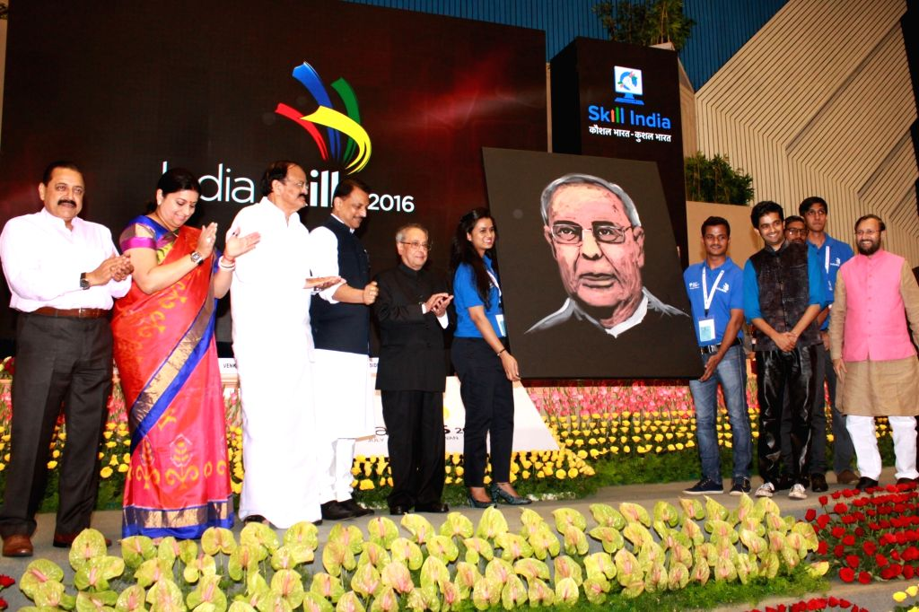 "President Pranab Mukherjee during the inauguration of the First Edition of ""India Skills"" on the occasion of the World Youth Skills Day, in New Delhi on July 15, 2016. Also seen ... - M Venkaiah Naidu, Smriti Irani, Prakash Javadekar, Pranab Mukherjee and Jitendra Singh"