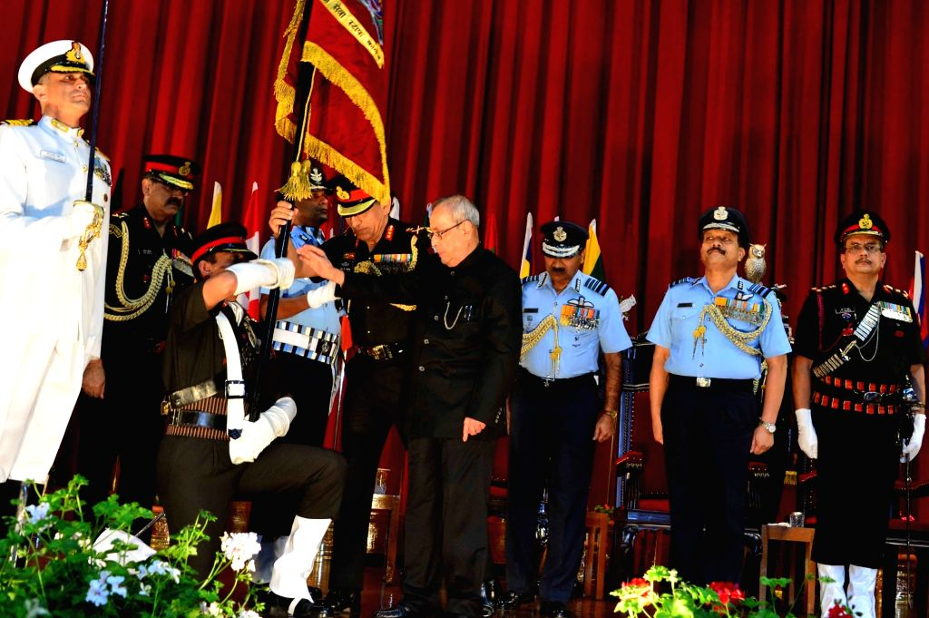 President Pranab Mukherjee during the presentation ceremony of the President's Colours to the Defence Services Staff College, Wellington, Tamil Nadu on Sept 9, 2016. - Pranab Mukherjee