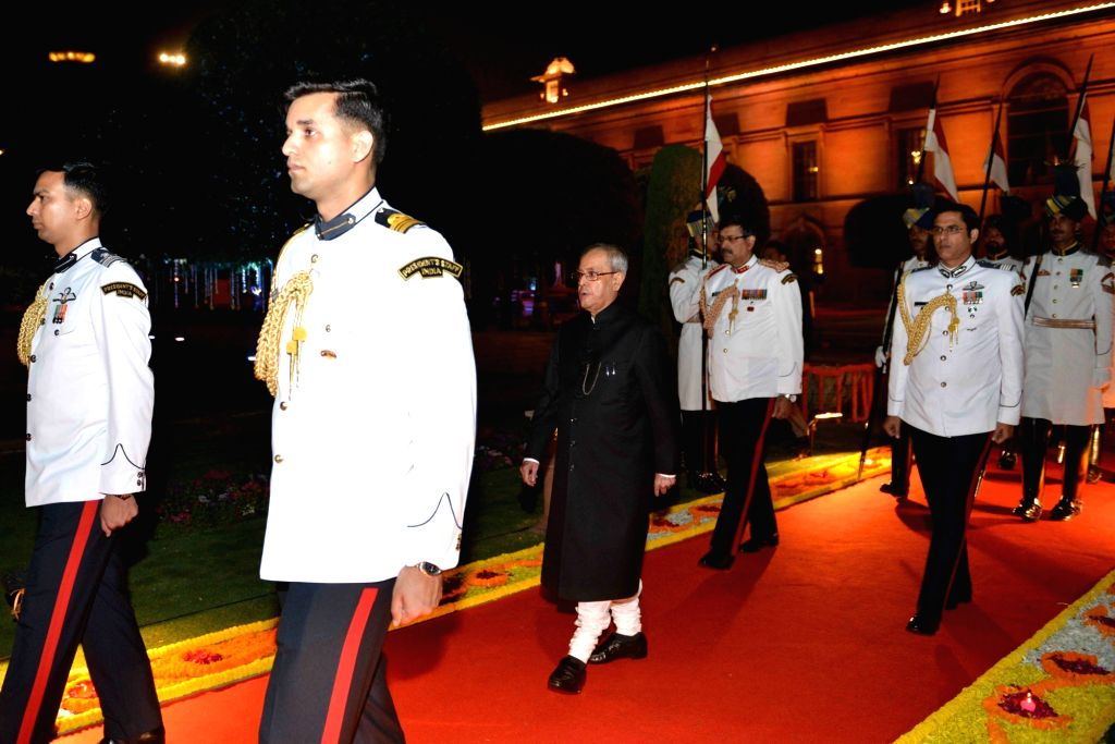 President Pranab Mukherjee during the banquet in honour of the dignitaries attending the 3rd India Africa Forum Summit, in New Delhi on Oct 29, 2015. - Pranab Mukherjee