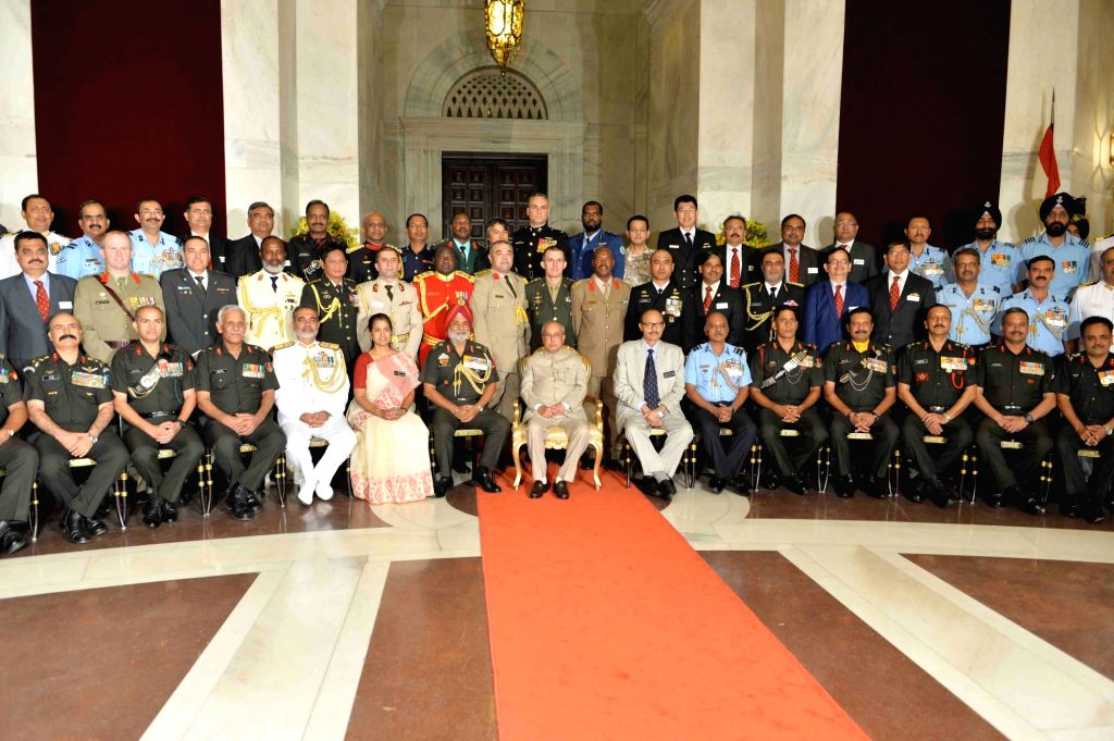 President Pranab Mukherjee during the meeting with the members of 56th NDC Course & Faculity of National Defence College at Rashtrapati Bhavan on Nov 1, 2016. - Pranab Mukherjee