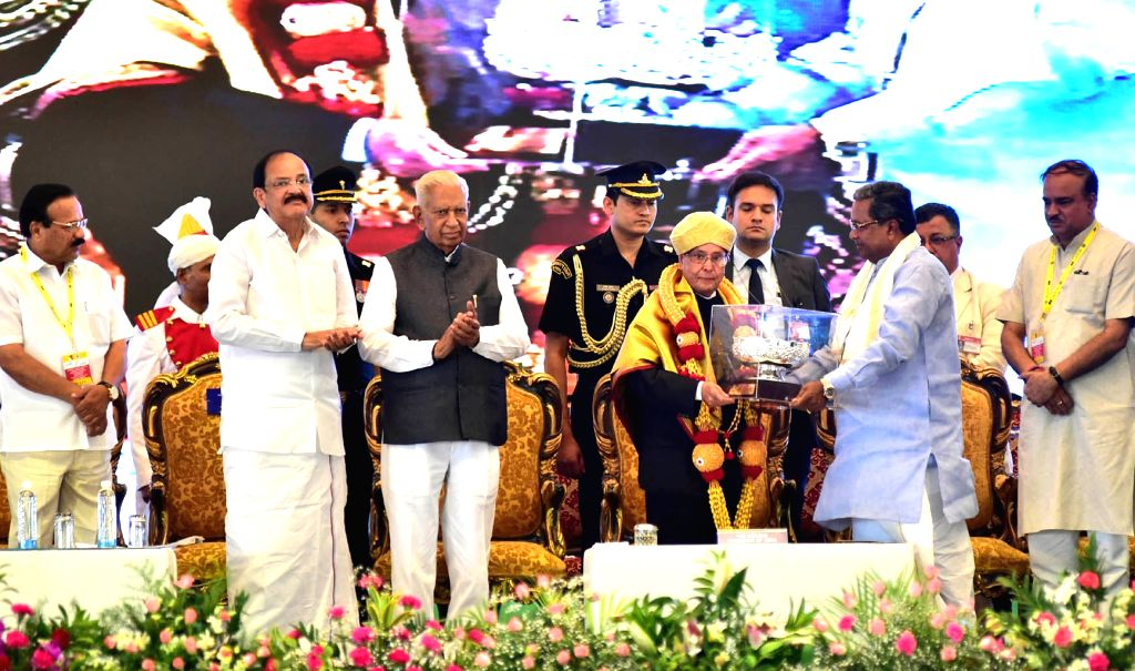 President Pranab Mukherjee inaugurates underground section of the Green Line of Bengaluru's Namma Metro train service from Nagasandra in the northern part of the city with Yelachanahalli ... - Siddaramaiah, M Venkaiah Naidu, Pranab Mukherjee and Ananth Kumar