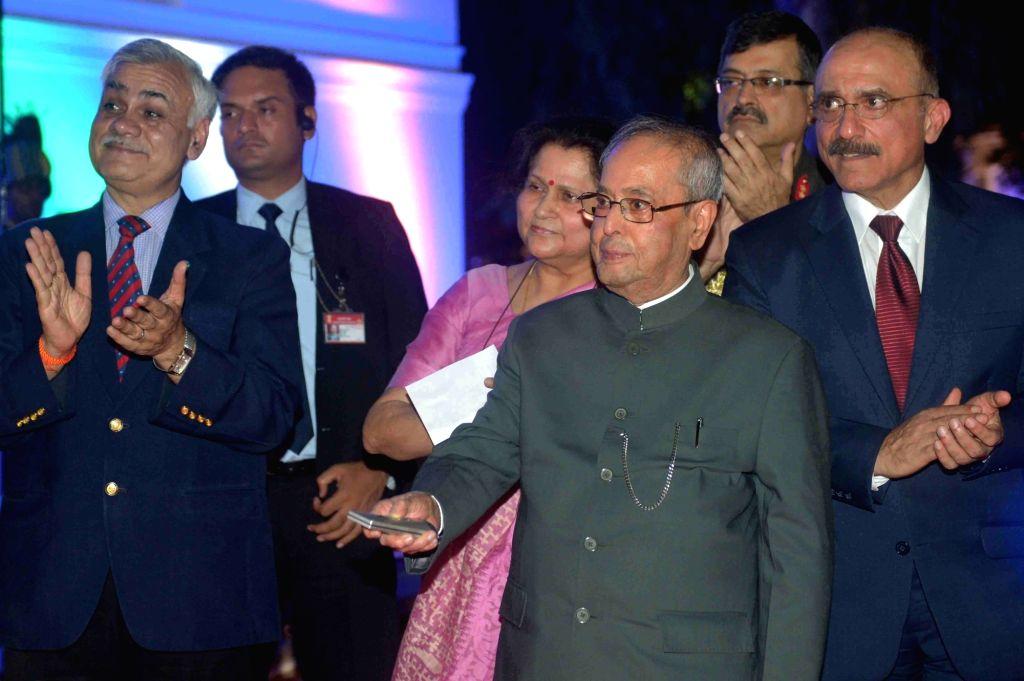 President Pranab Mukherjee inaugurates the restored heritage buildings at regimental headquarter in New Delhi on July 4, 2017. - Pranab Mukherjee