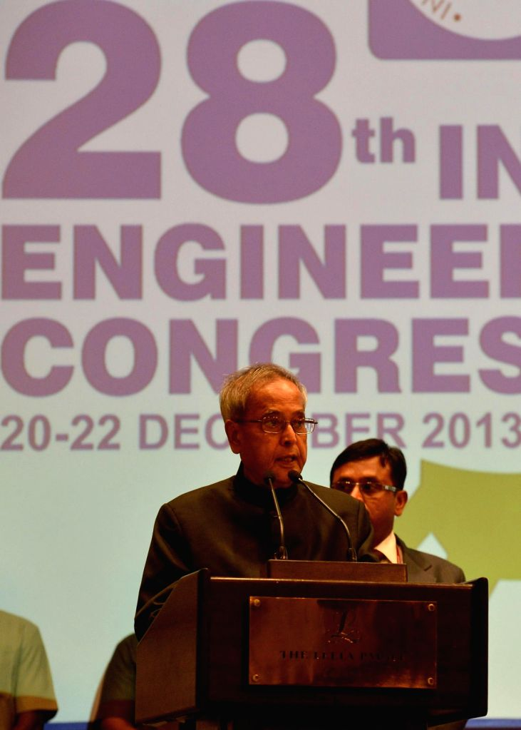 President Pranab Mukherjee, inaugurating the 28th Indian Engineering Congress on the Theme 'Engineering Advancements & Accelerted Nation Building at Chennai in Tamil Nadu on Dec. 12, 2013,