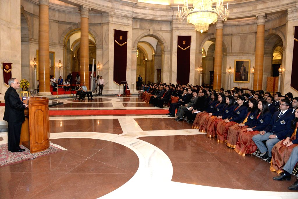 President Pranab Mukherjee meets with the probationers of 65th Batch of the Indian Revenue Service (Customs & Central Excise) from the National Academy of Customs Excise & Narcotics, ... - Pranab Mukherjee
