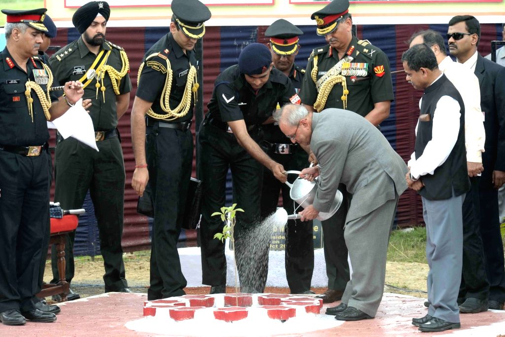 President Pranab Mukherjee plants a sapling at Berhampore  Military Station, at Nabagram, in Murshidabad of West Bengal on Oct  8, 2016. - Pranab Mukherjee