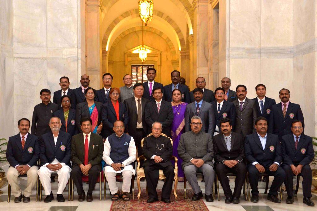 President Pranab Mukherjee presenting the Indira Gandhi National Service Scheme Awards at Rashtrapati Bhavan on Nov. 19, 2016. - Pranab Mukherjee