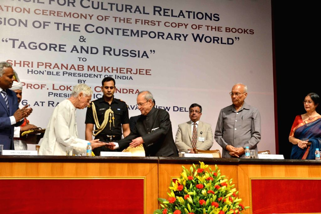 President Pranab Mukherjee receives the first copy of the books 'Tagore's Vision of the Contemporary World' and 'Tagore and Russia' from the ICCR President Prof. Lokesh Chandra, published ... - Pranab Mukherjee