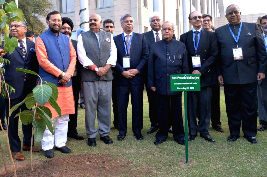 President Pranab Mukherjee Union HRD minister Prakash Javadekar, Godrej Group Chairman Adi Godrej at the 15th anniversary celebration of Indian School of Business in Mohali, on Nov 20, 2016. - Prakash Javadekar