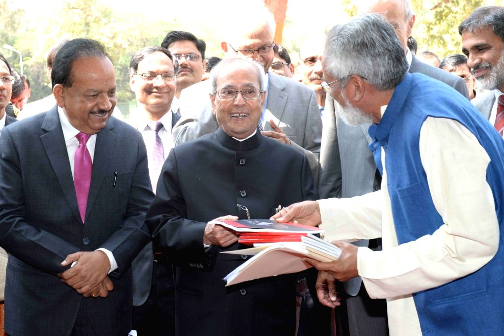 President Pranab Mukherjee visits the Innovation Exhibition, at Sports Ground, at Rashtrapati Bhavan, in New Delhi on March 4, 2017. Also seen Union Minister for Science & Technology ... - Pranab Mukherjee