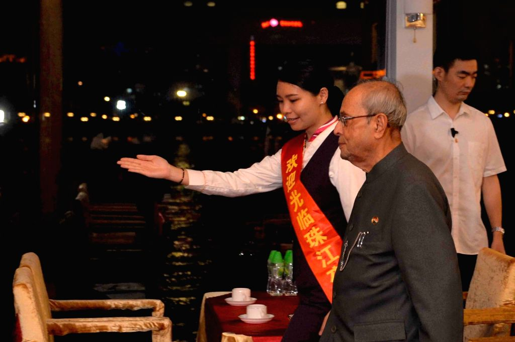 President Pranab Mukherjee visits the Pazhou Convention Centre Jetty for a boat cruise in Guangzhou of China on May 24, 2016. - Pranab Mukherjee