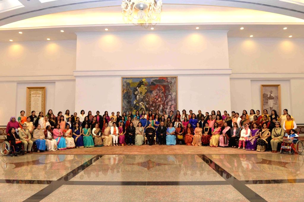 President Pranab Mukherjee with the Women Achievers of India selected by the Ministry of Women & Child Development in collaboration with Facebook vide contest through Public ... - Pranab Mukherjee