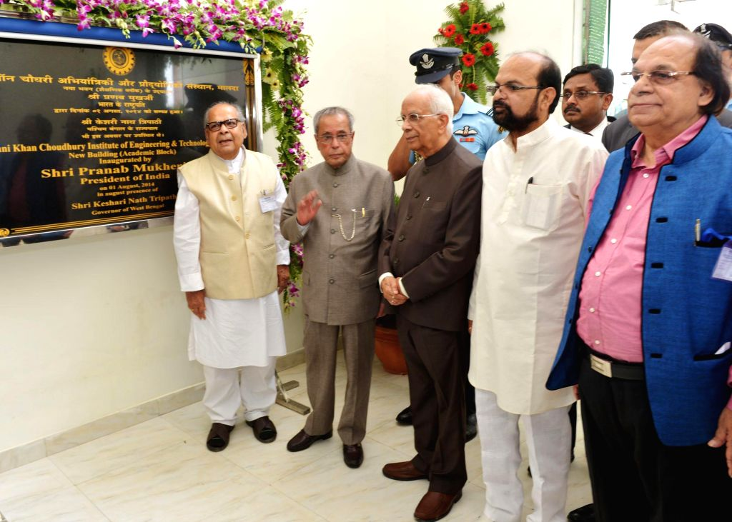 President Pranab Mukherjee with West Bengal Governor Keshari Nath Tripathi during inauguration of a new building of Ghani Khan Choudhury Institute of Engineering and Technology in Malda district of .. - Pranab Mukherjee and Keshari Nath Tripathi
