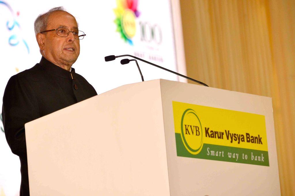President Pranab Mukjherjee addresses during centenary celebrations of Karur Vysya Bank in Chennai, on Sept 10, 2016.