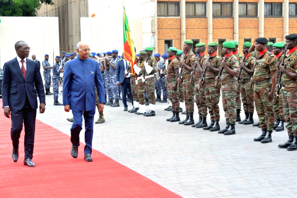 President Ram Nath Kovind accompanied by Benin President Patrice Talon, inspects the Guard of Honour on his arrival at the Presidential Palace of the Marina, in Cotonou, Benin on July 29, ... - Nath Kovind
