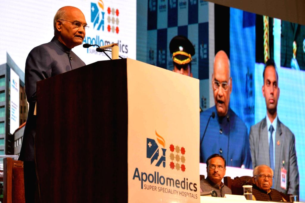 President Ram Nath Kovind addresses after inaugurating the Apollomedics Super Speciality Hospitals in Lucknow on Feb 24, 2019. - Nath Kovind