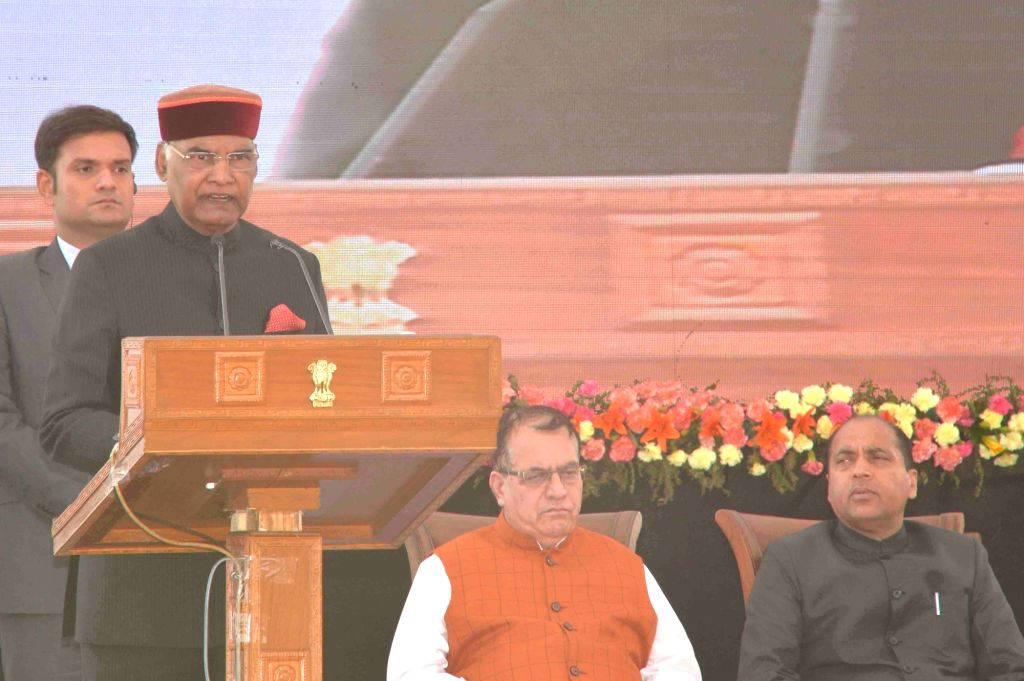 President Ram Nath Kovind addresses at a civic reception hosted by Himachal Pradesh government at Peterhoff in Shimla on May 22, 2018. - Nath Kovind